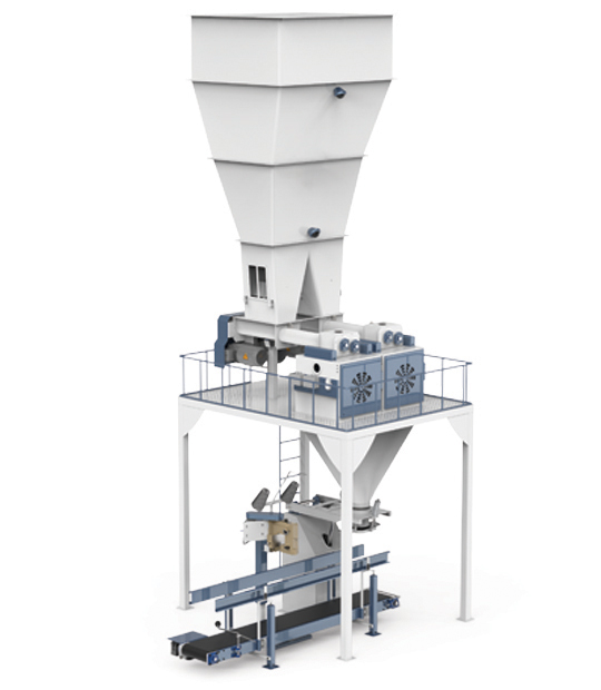 Six-Station Unloading Double-Stage Weighing Manuel Bag Place Rotational Flour Packing Line (25-50 Kg)9