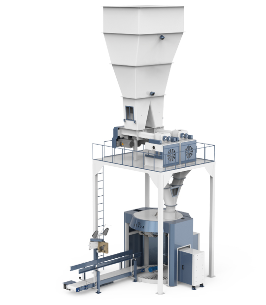 Four Station Unloading Double-Stage Weighing Rotational Robotic Flour Packing Line (25-50 Kg)1