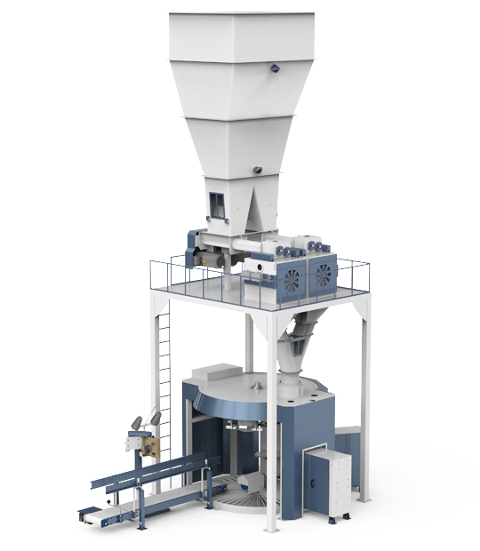 Four Station Unloading Double-Stage Weighing Rotational Robotic Flour Packing Line (25-50 Kg)7