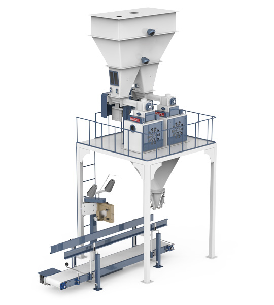 Six-Station Unloading Double-Stage Weighing Rotational Robotic Flour Packing Line (25-50 Kg)1