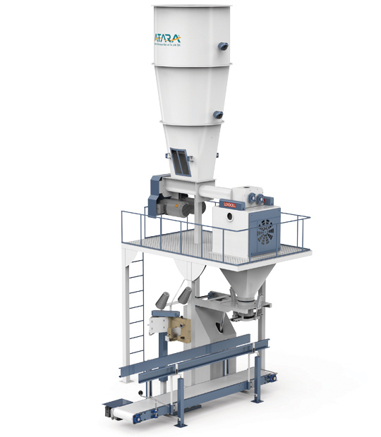Four-Station Unloading Double-Stage Weighing Manuel Bag Place Rotational Flour Packing Line (25-50 Kg)5