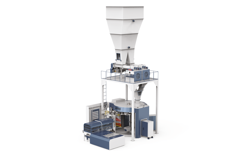 SIX-STATION UNLOADING DOUBLE-STAGE WEIGHING ROTATIONAL ROBOTIC FLOUR PACKING LINE (25-50 KG)